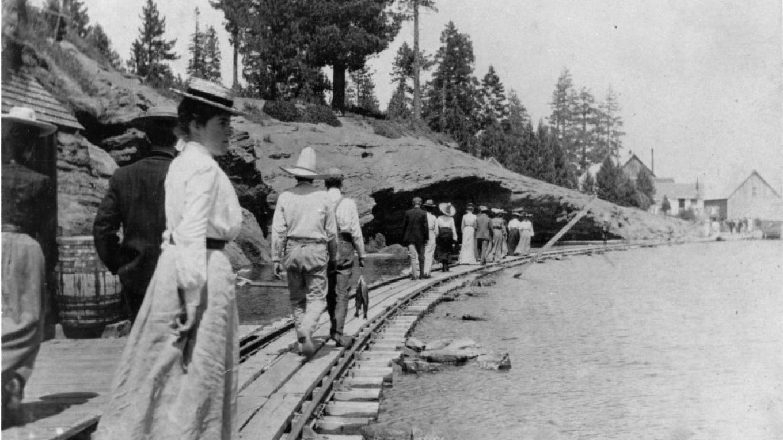 Walking along the narrow gauge railroad – Courtesy of Gatekeeper's Museum