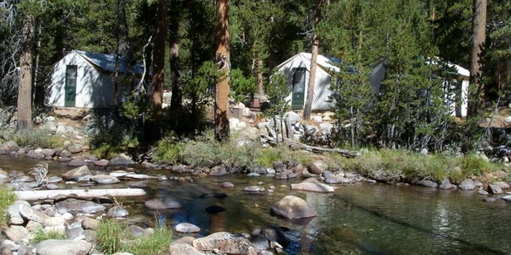 Tuolumne Lodge tent cabins along the Dana Fork of the Tuolumne River