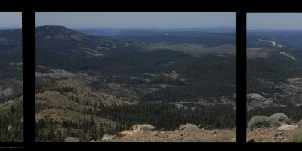 panoramic view through the old fire lookout\'s windows. – bill oudegeest