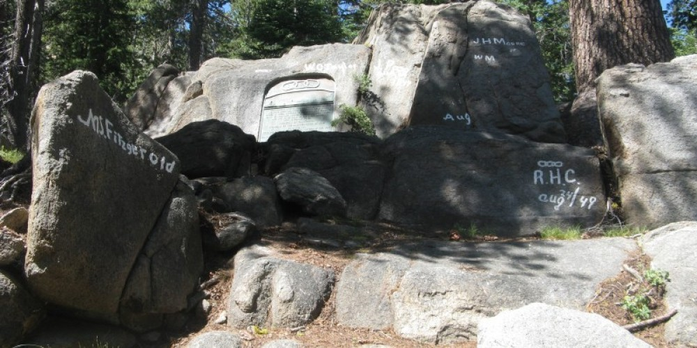 Granite rocks with pioneer names and Marker (middle) – By Syd Whittle, July 26, 2009