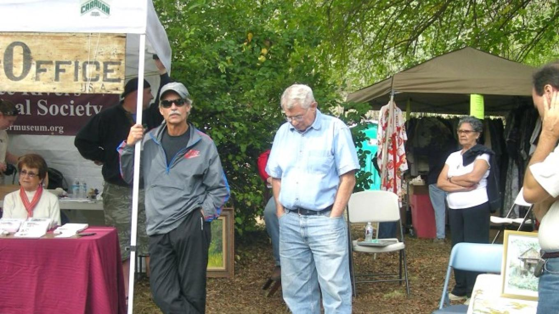 John Elliott, Kaweah Commonwealth Editor and Barry Bartlett, on whose dairy property the post office originally sat – CJS