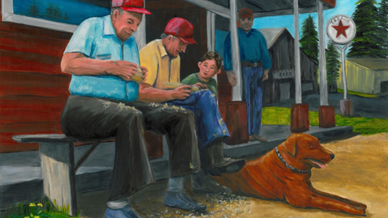 Men on Porch by Gail Finn. – Nadi Spencer