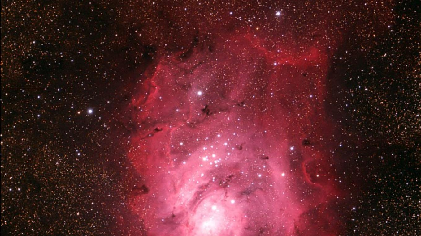 """M8 """"Lagoon Nebula"""".  Deep sky photography by an observatory docent taken from Ice House Resevoir in Northern California on July 24, 2009. – Frank Dibbell"""