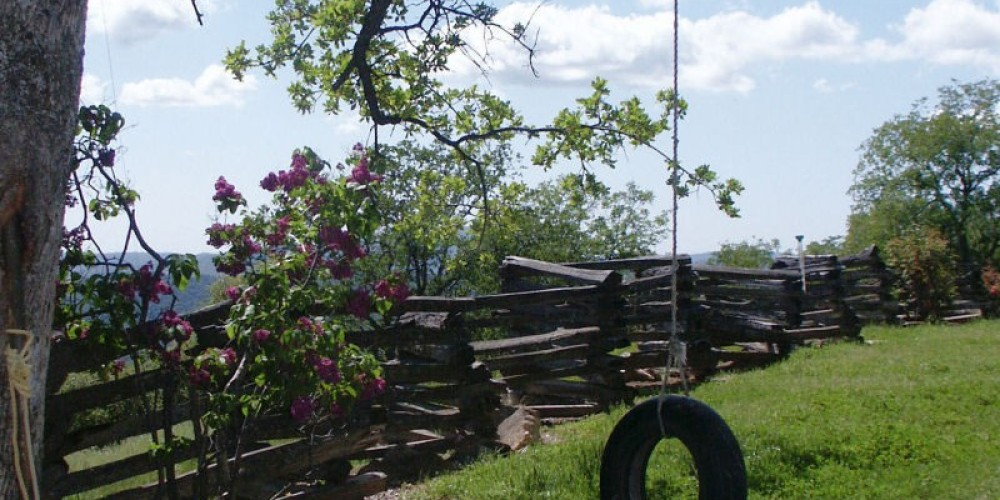 The kids can take a ride on the old tire swing in the backyard at Lyn-Mar Pond Guest Ranch.