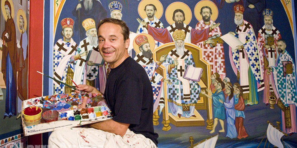Iconographer Miloje Milinkovic painted the frescoes inside St. Sava Church over a period of 13 years and completed the project in 2008. – Larry Angier