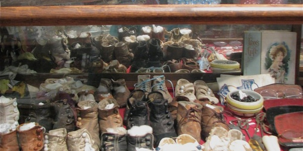 Children's shoes were a luxury at the time, and many miner's children would not have had anything this fine. Shoes were not discarded, they were handed down to siblings. – Karrie Lindsay