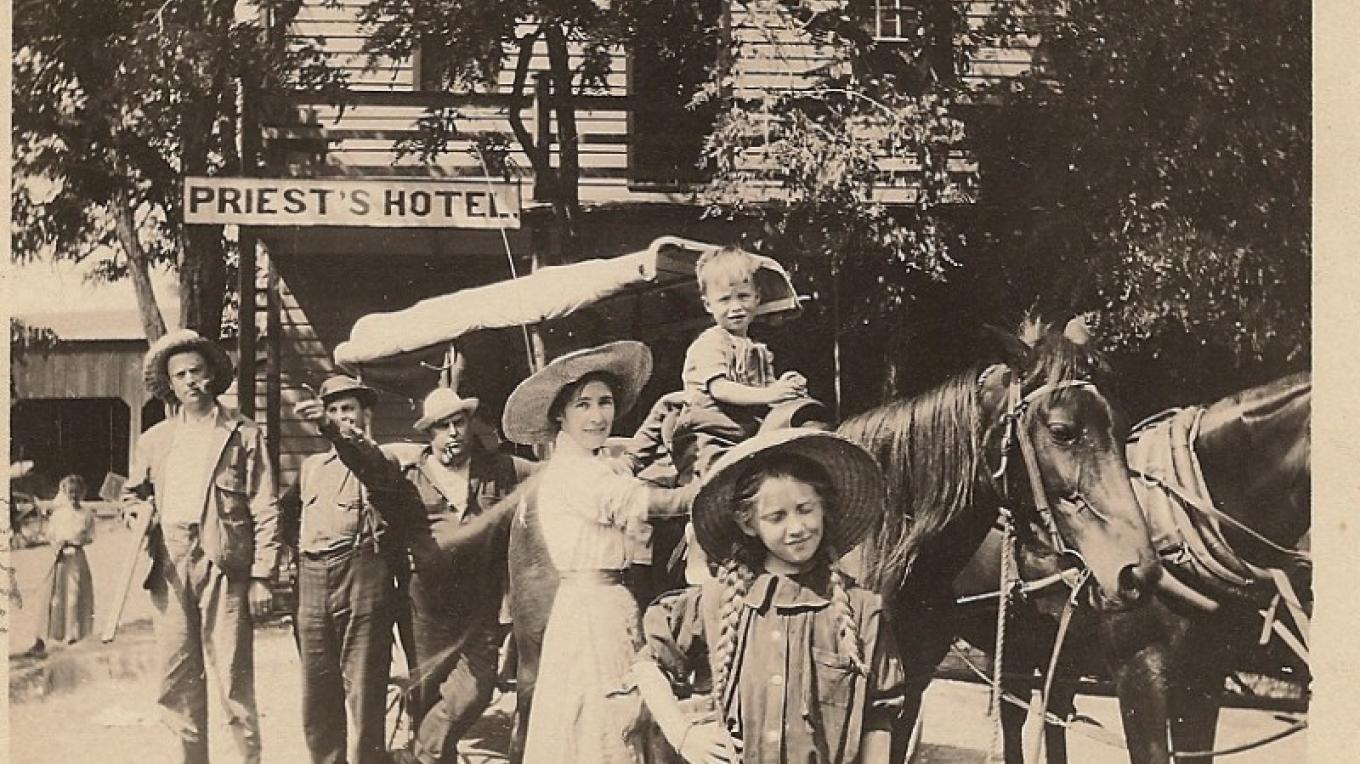 In front of Priest Hotel, circa 1914.