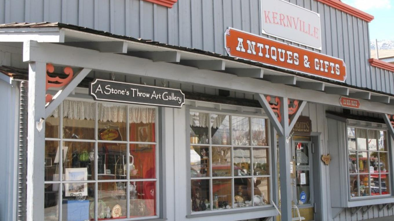 A Stones Throw Gallery is located inside Kernville Antiques & Gifts – Charles Topping