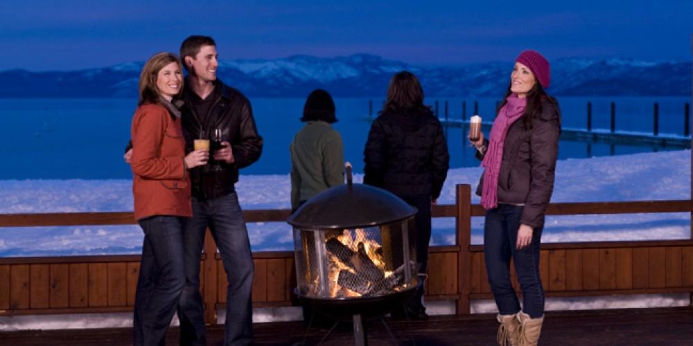 The Beacon deck in winter – Camp Richardson Resort