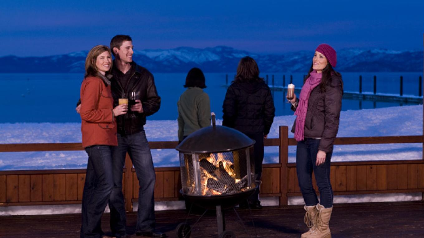 The Beacon deck in winter – Camp Richardson Resort
