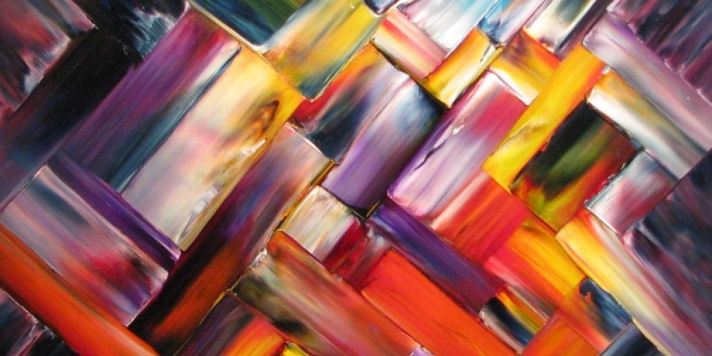 """Applying paint directly from tube to canvas, John uses a palette knife as his main """"brush"""". This particular technique produces rectangular shapes. – Karrie Lindsay"""