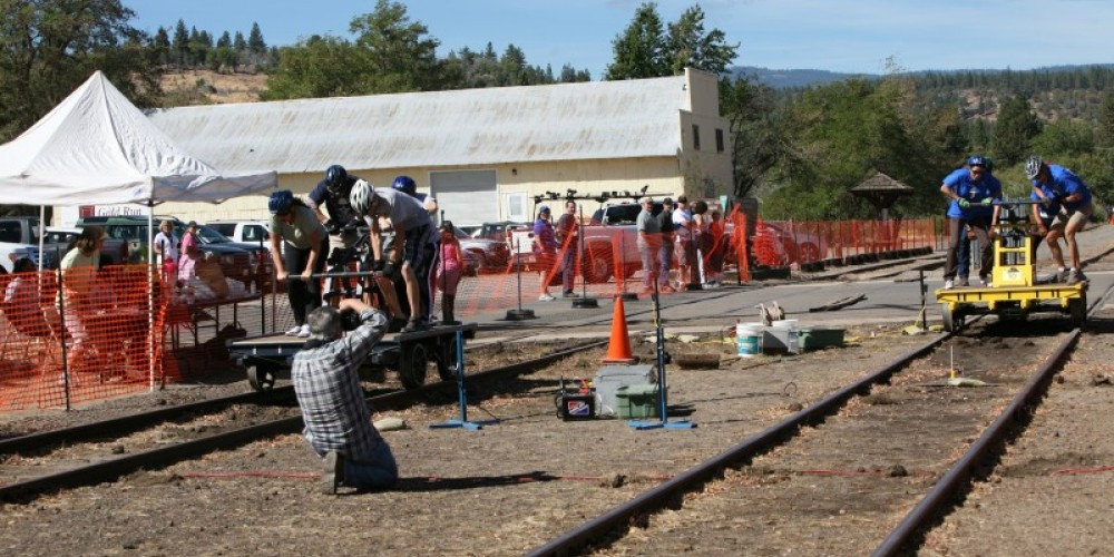 Side-by-side handcar races, Susanville, CA