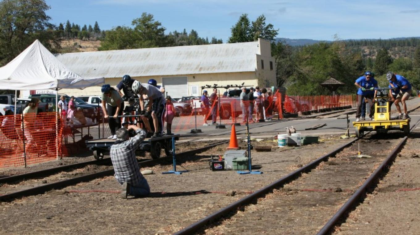 Side-by-side handcar races, Susanville, CA
