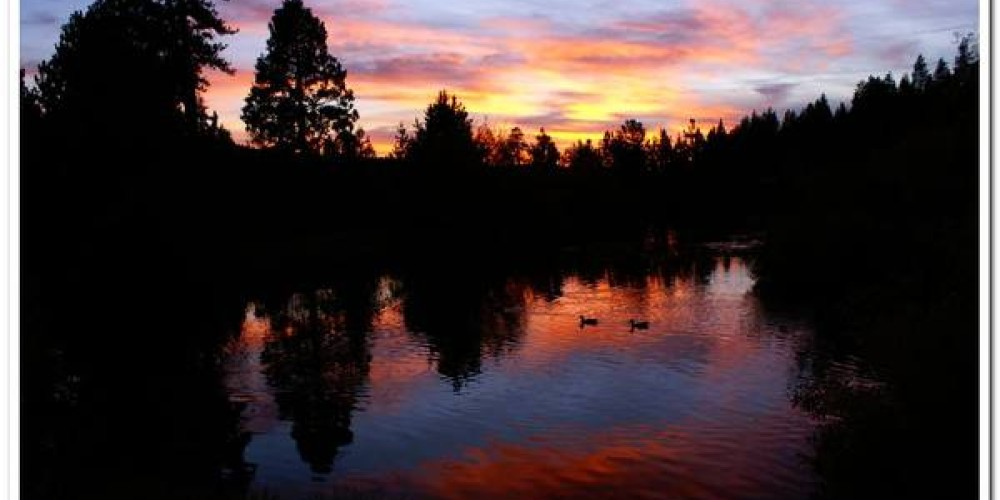 Sunset over the Trout Pond at St. Bernard Lodge