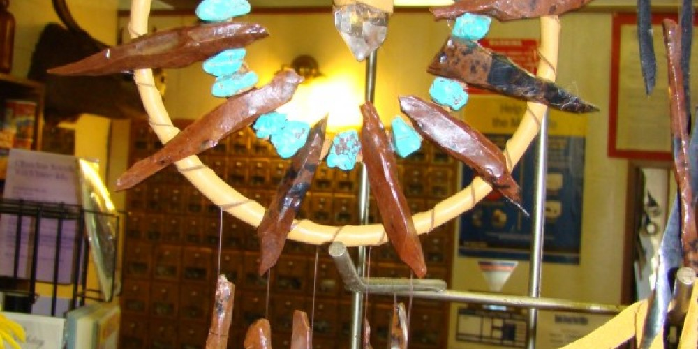 Obsidian needles can be made into beautiful sounding wind chimes, like these on sale at the Davis Creek Mercantile. – Jean Bilodeaux