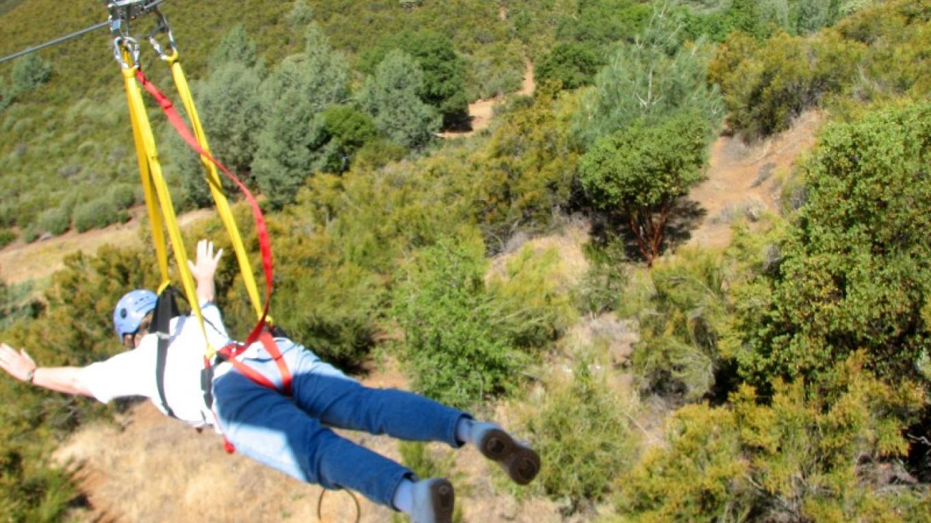 "The ""Super Zip""! One of the ways to enjoy the zip line at Moaning Cavern Park – Lisa Boulton - Sierra Nevada Recreation Corporation"