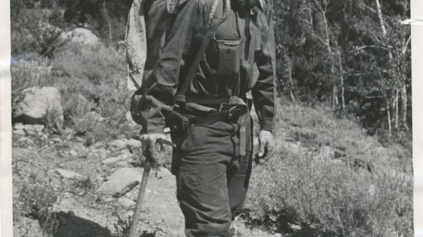 Pioneering mountaineer Norman Clyde, with his 80 pound pack, made 100 first ascents in the Sierra and occupies a permanent exhibit in the Museum. – Eastern California Museum