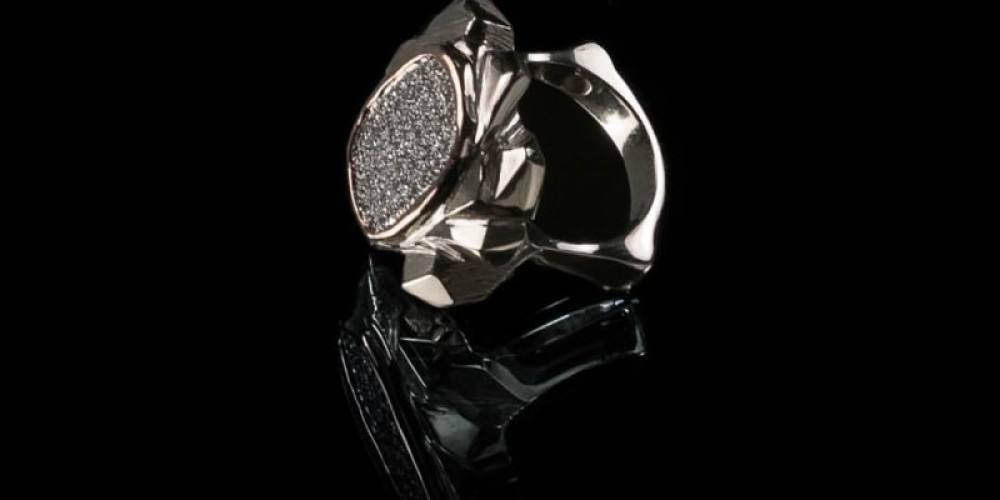 18K White and Rose Gold Pave Diamond Ring