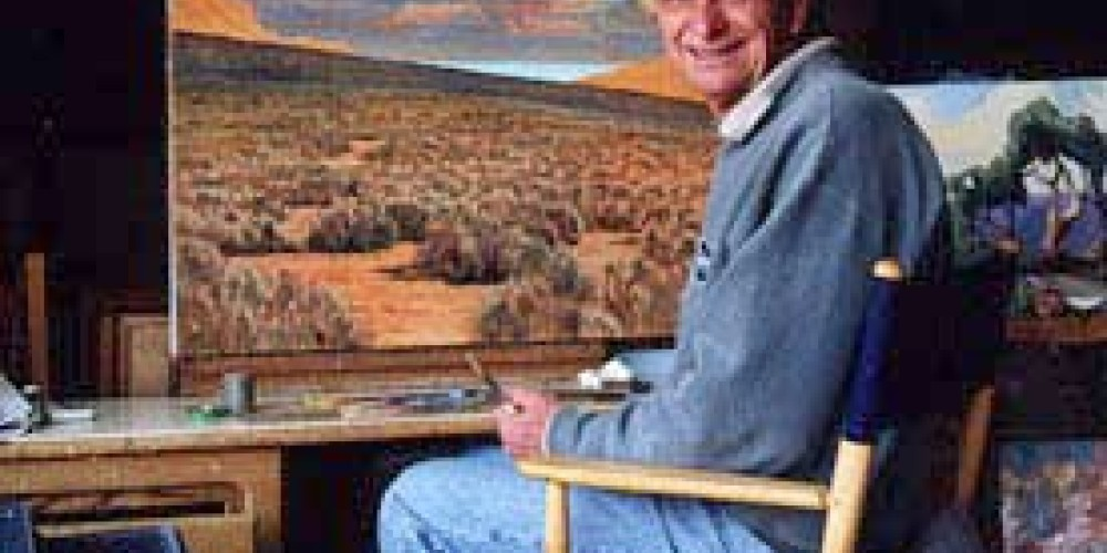 """Richard Coons working on \""""Big Sky - Chalfant Valley.\"""" – Wynne Benti/Coons Gallery"""