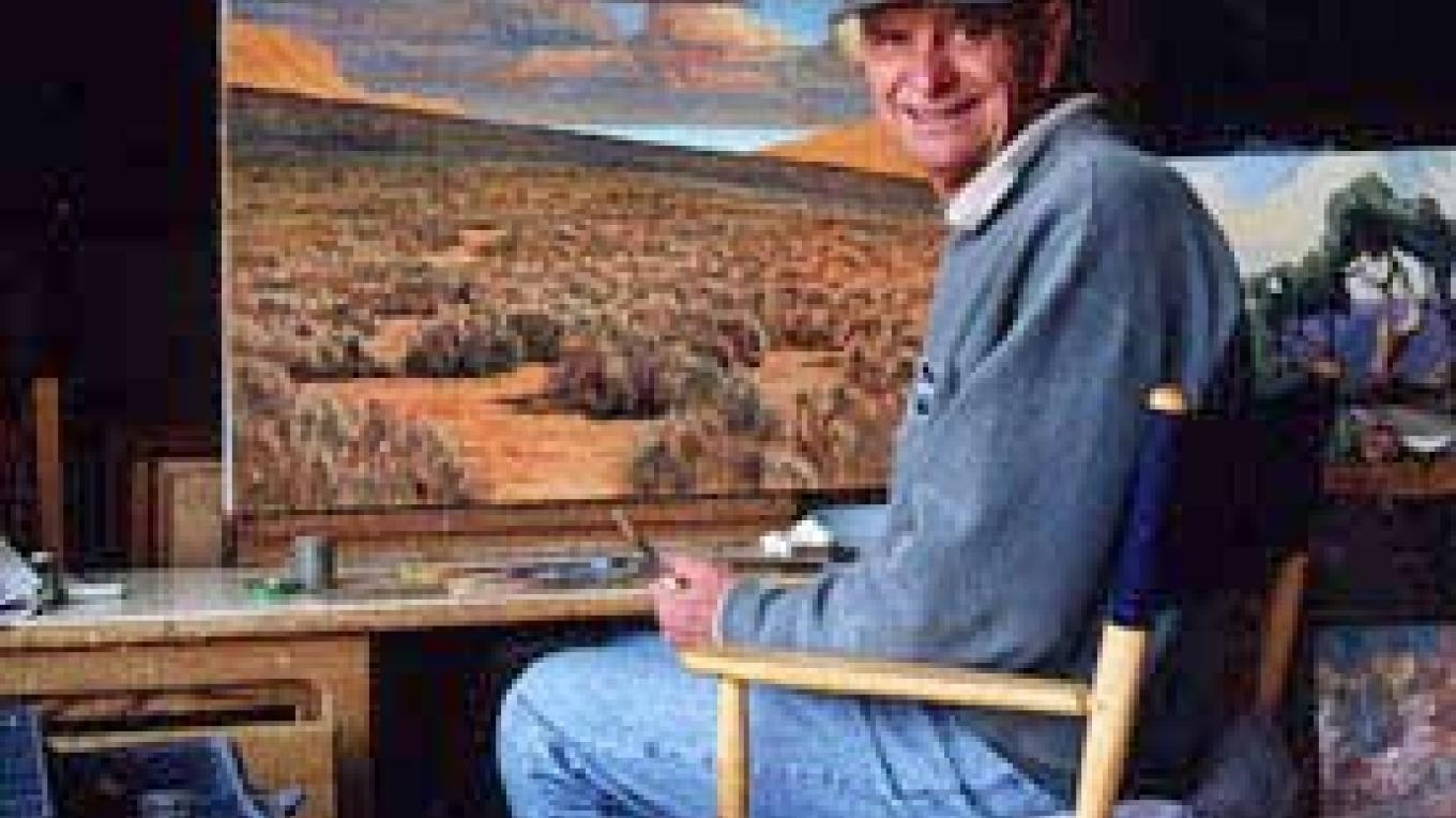 "Richard Coons working on ""Big Sky - Chalfant Valley.\"" – Wynne Benti/Coons Gallery"