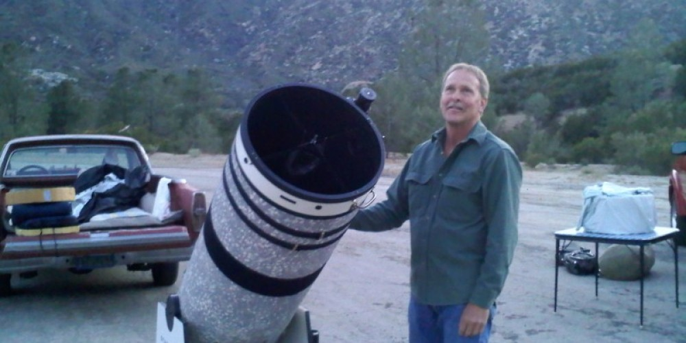 """Chris and his 16"""" telescope. – Dianna Anderson"""
