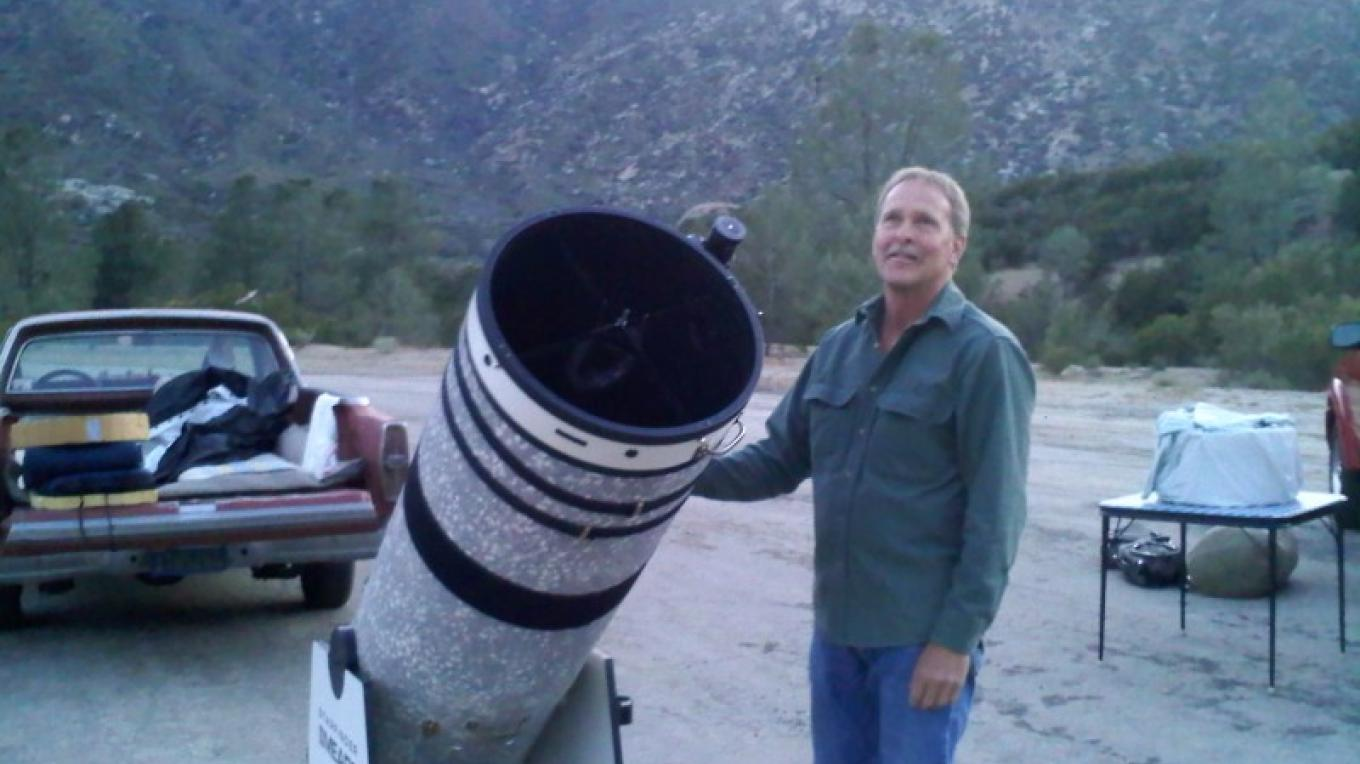 "Chris and his 16"" telescope. – Dianna Anderson"