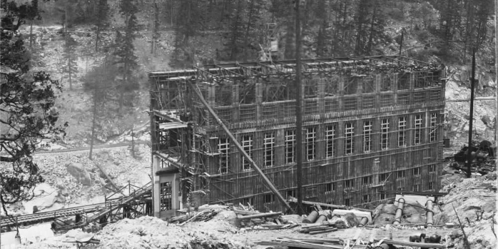 Historical view of PH#1 and penstocks during construction – Southern California Edison