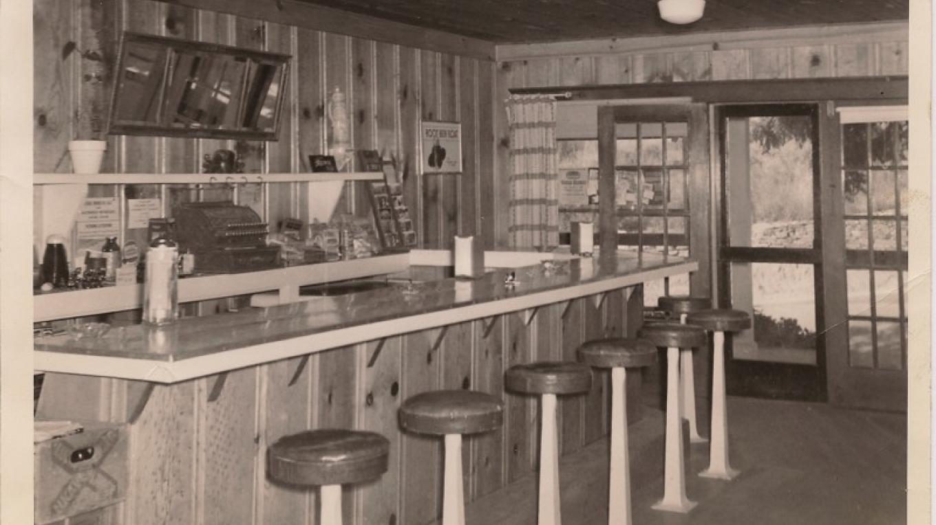 Priest Station Cafe in the 1940s.  This structure burned down in the 1980s.