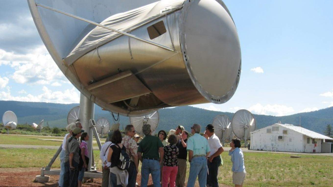Visitors enjoy an up close view of the dish while hearing explanations about how it all works. – Alicia Fitzgerald