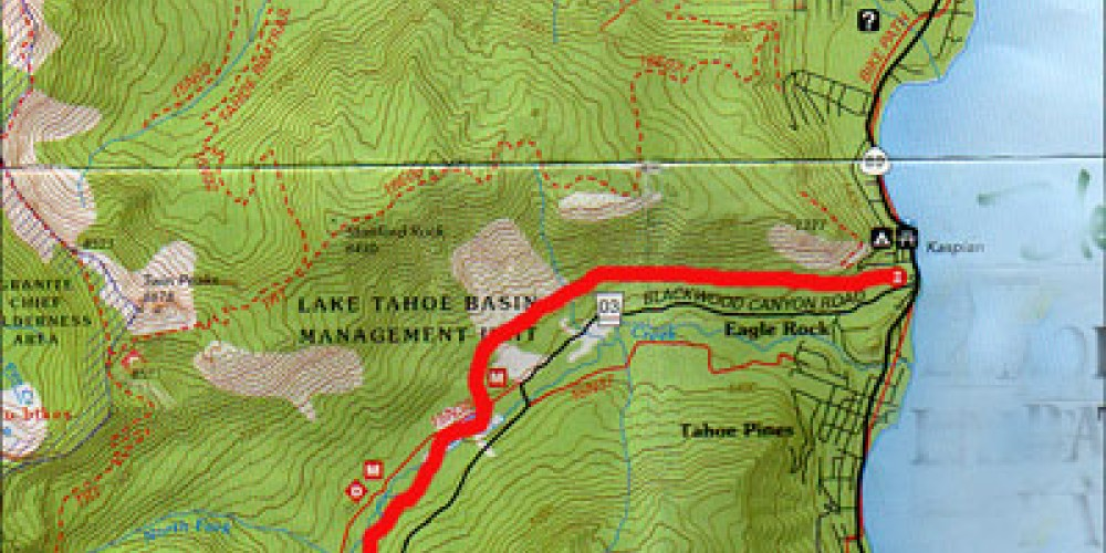 Map showing Barker Pass Road in the Blackwood Canyon Sno-Park – www.tahoetopia.com