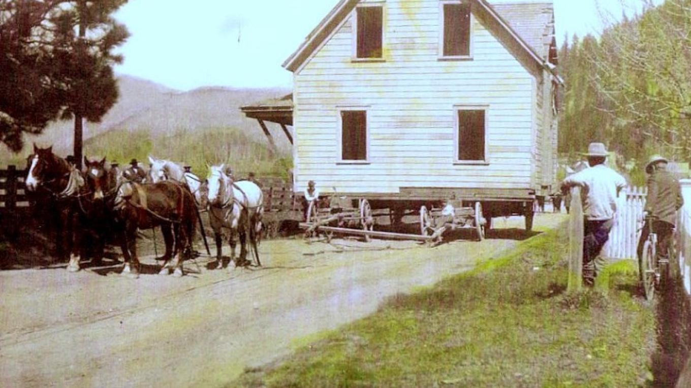 Moving the Anna Berg Ranch house to its current location at 562 Jackson St. Quincy, Ca. in the late 1890's. – Unknown, picture courtesy of Plumas County Museum