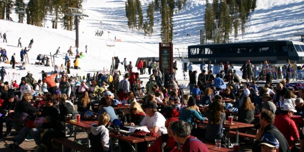 Judah Lodge deck with Mt Judah Express chairlift. – JB Shoemaker