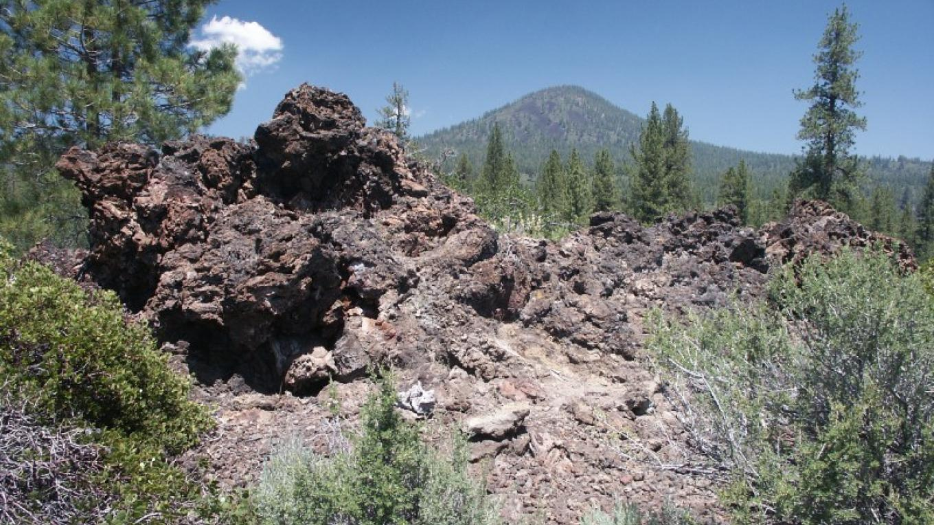 Spatter tube along the Spattercone Nature Trail – by C. Forster