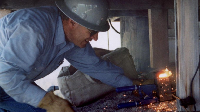 John Porter works on lightning protection system at Buck Rock Lookout – Kathryn Allison