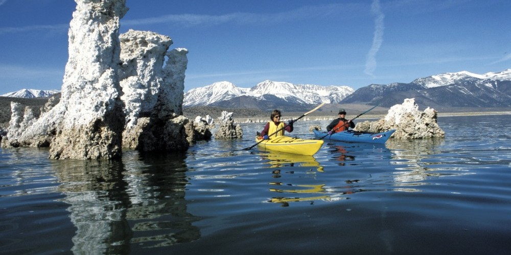 Kayakers and Tufa Towers – Jane Dove Juneau