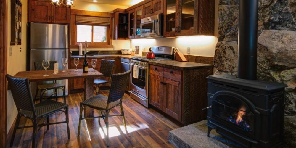 Kitchen in our Anniversary Cabin – Cedar Glen Lodge