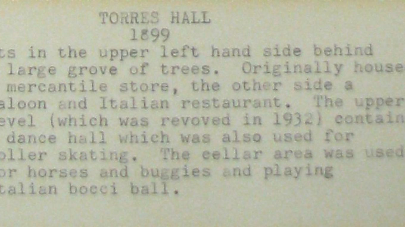 The story of the larger building, Torre's Hall is summarized in this brief history. – Karrie Lindsay