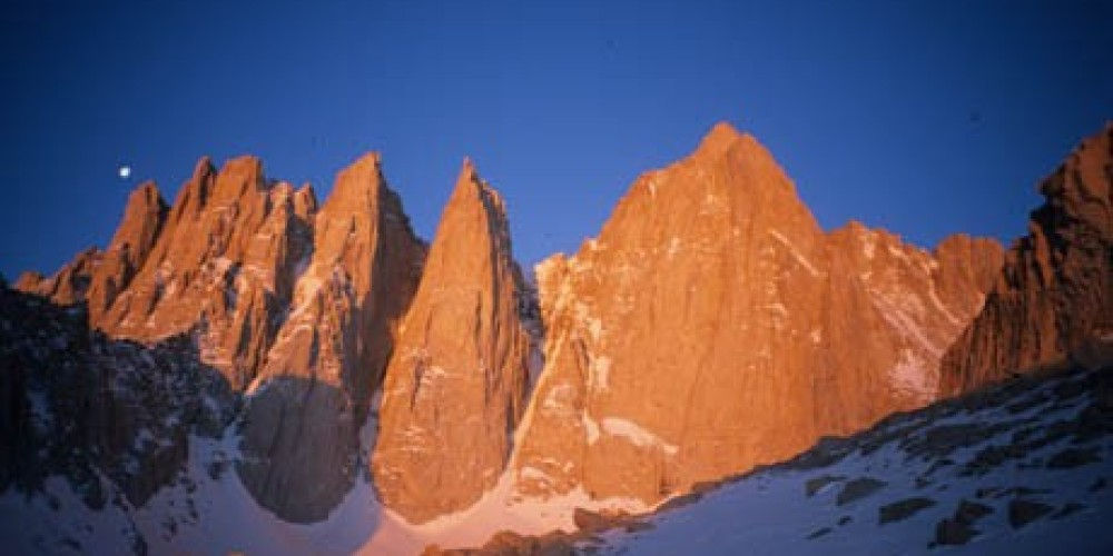 Mt. Whitney (14,497\', 4418m), the highest mountain in the contiguous 48 states. – Kurt Wedberg