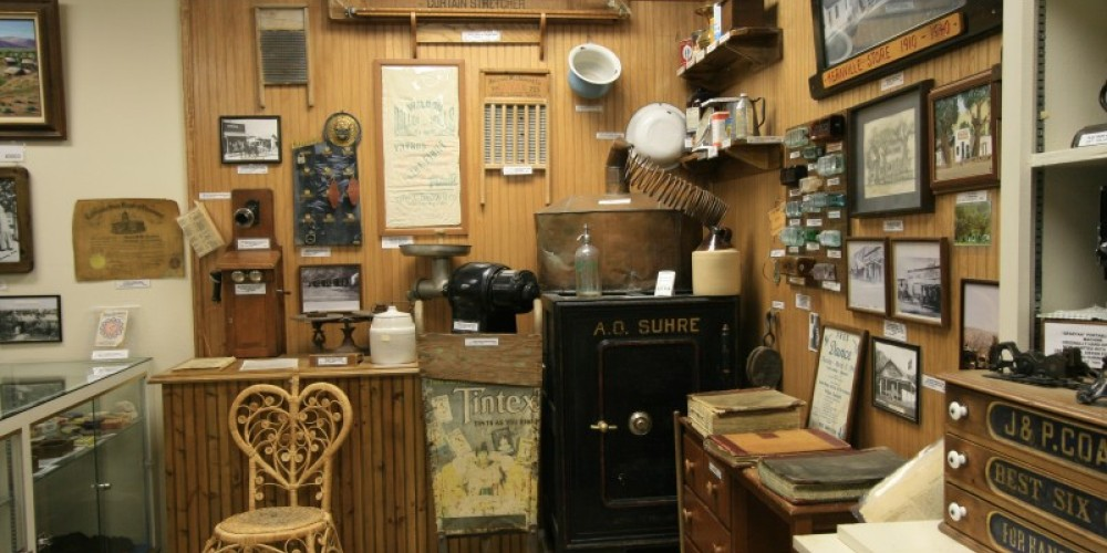 This display depicts items used in local stores, homes and other businesses as the Kern River Valley grew and more people arrived. – Liz Bardos