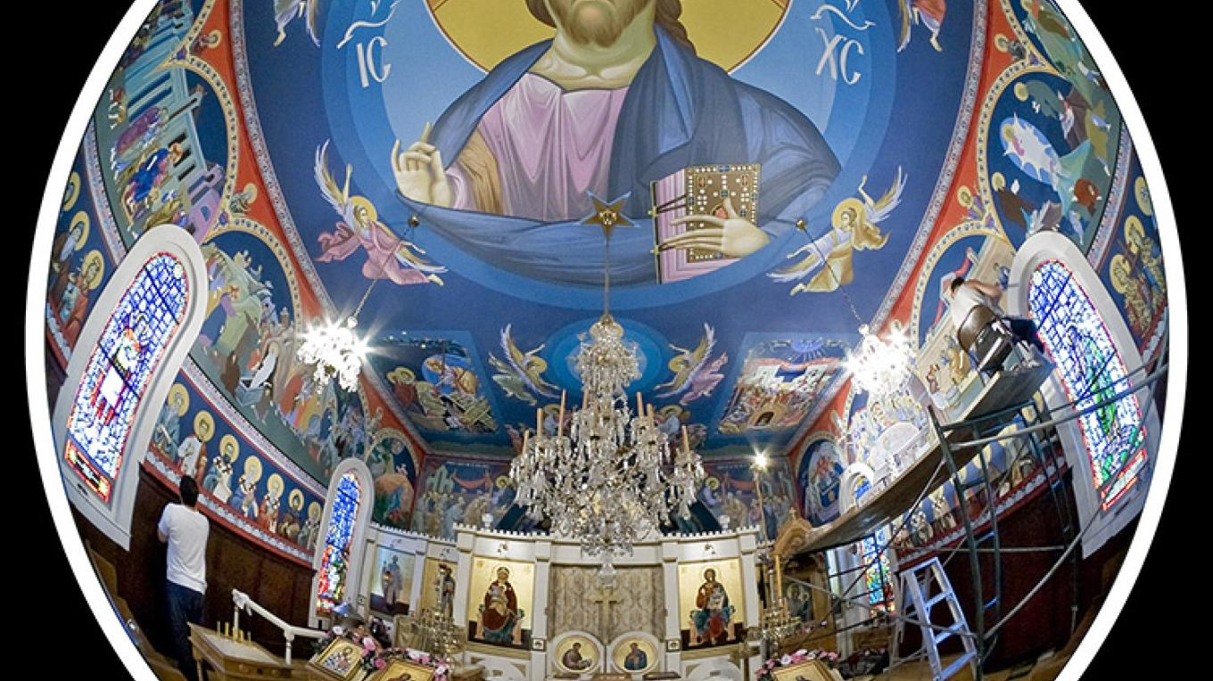Interior fresco of Christ on the ceiling of St. Sava Church, Jackson – Larry Angier