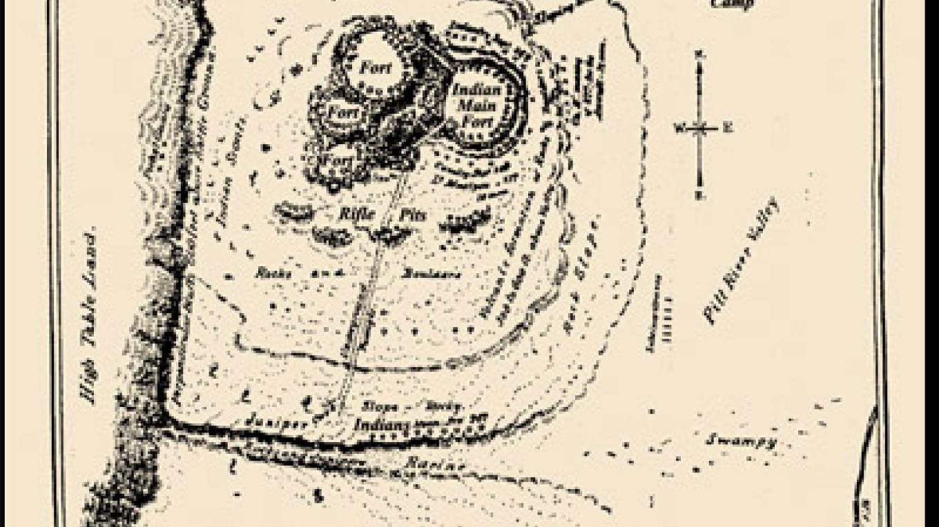 Original map of the Infernal Caverns battle site, possibly from the diary of Lieutenant William Parnell who participated in the attack. – farwestern.com