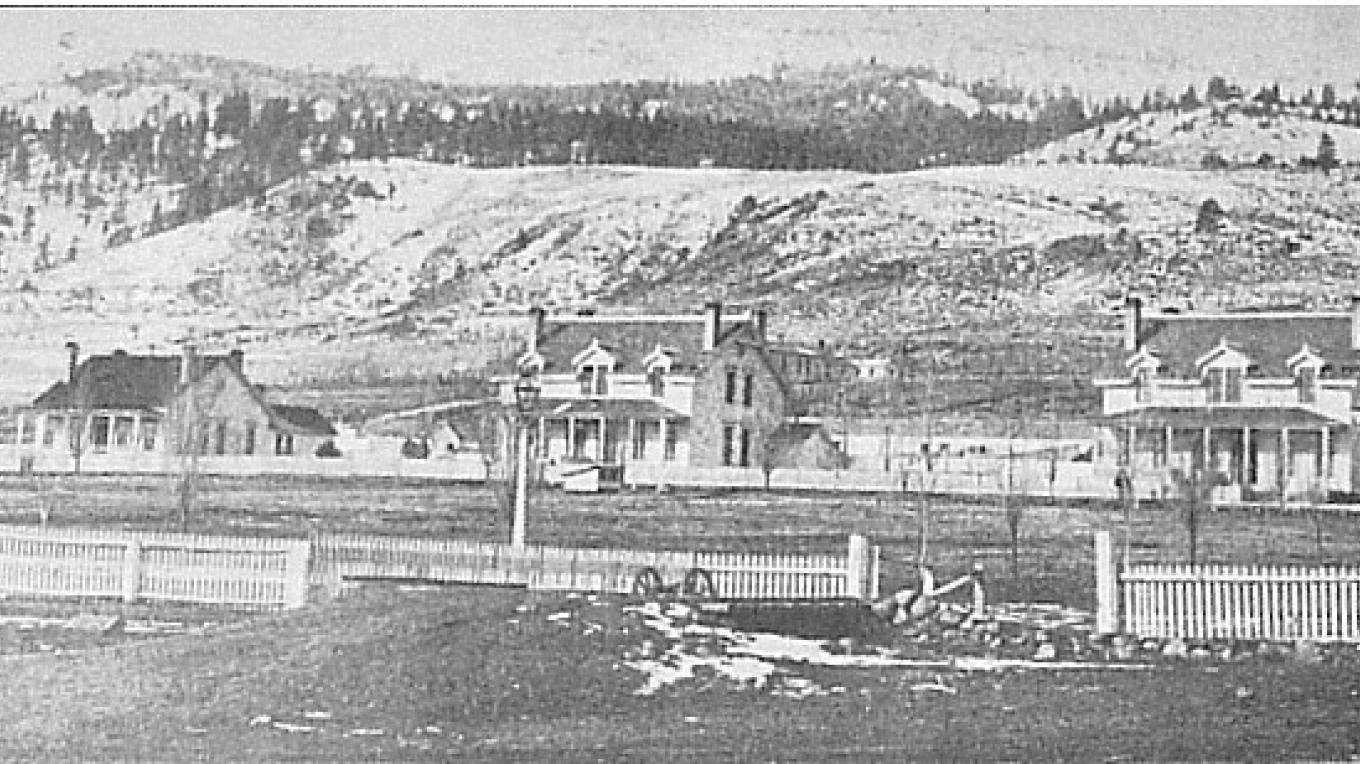 Fort Bidwell, 1885, looked like this from northeastern edge of parade ground. Officers' row is in background. One item was pride of Fort Bidwell: water piped into houses from hot springs in valley. – California State Military Department