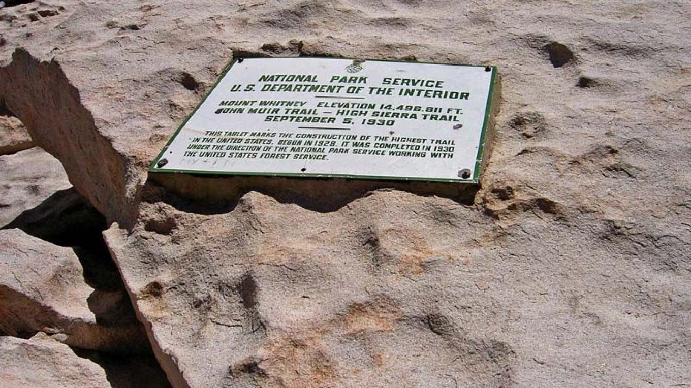 The plaque marking the peak of Mt. Whitney – NPS