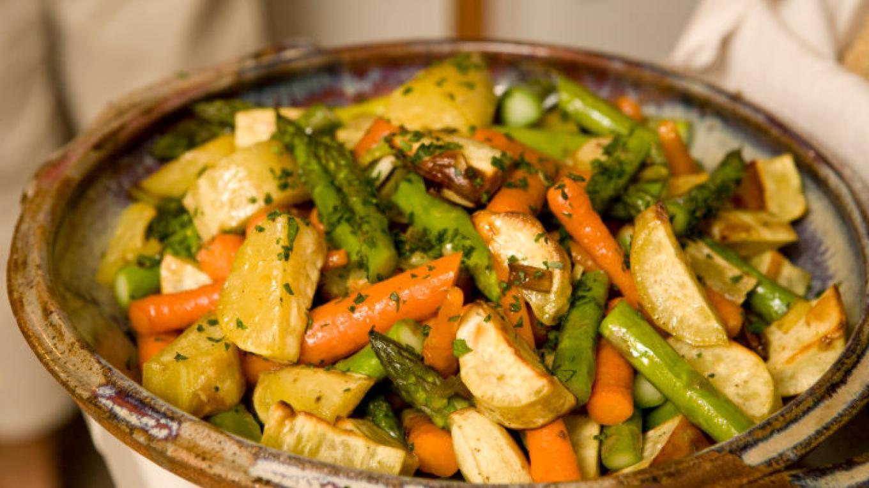Roasted carrots, asparagus, sweet potatoes and leeks