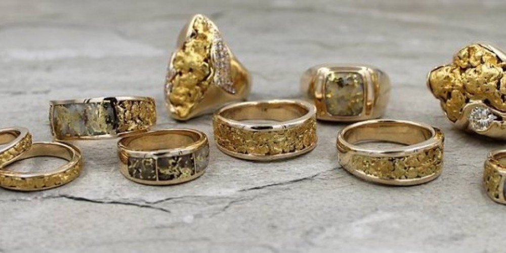 Sierra Moon Goldsmiths Gold Nugget and Gold Bearing Quartz Rings for Men and Women
