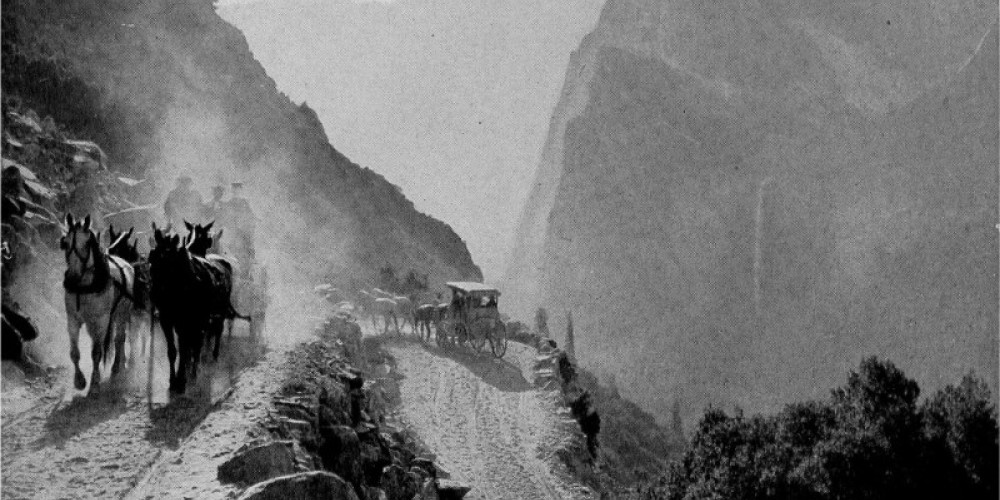 Old Priest Road to Yosemite remains steep and winding – Carl Russell, One Hundred Years in Yosemite (1947)