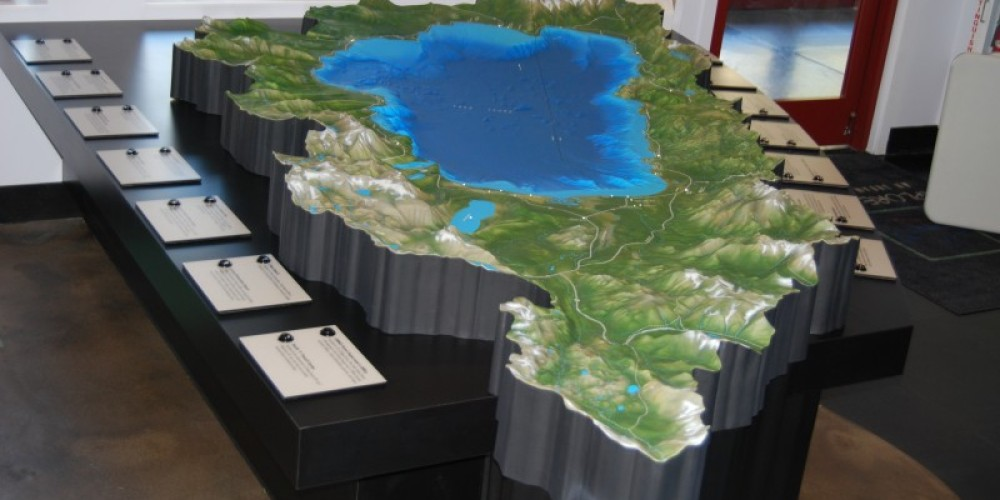 Topographical Relief map with 26 points of interest around the Lake Tahoe Basin that light up when touched. – Lauren Thomaselli