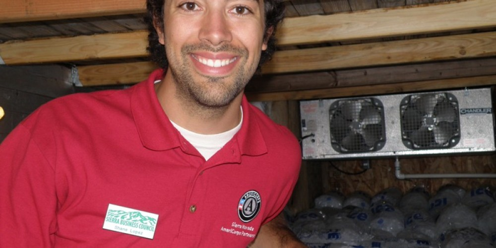 Shane Lopez doing an energy audit for the Sierra Nevada Energy Watch, 2010. – SBC