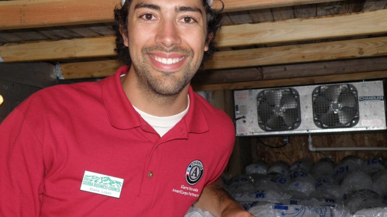 Shane Lopez doing an energy audit for the Sierra Nevada Energy Watch, 2010. – SBC