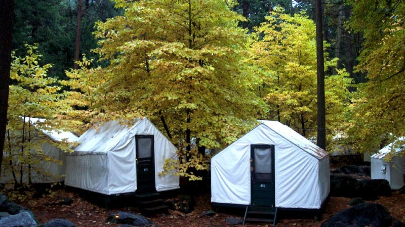 Half Dome Village Canvas Tent Cabins in Fall